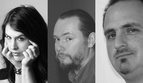 Rhianna Pratchett, James Swallow, and Ed Stern, all noticing something to the left.